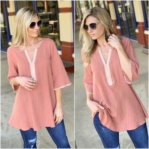Infinity Raine Tops - ✨Restocked✨Light Marsala Lace trim Cotton tunic